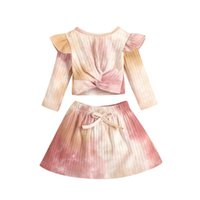 Clothing Sets Imcute Toddler Infant Baby Girls Autumn Clothes Tie-Dye Printed Long Sleeve T Shirts Tops A-Line Skirts 0-24M 2pcs