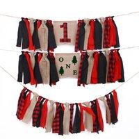 Rote Plaid Lumberjack Banner Dekorationen Eine erste Geburtstagsstuhl Flaggen Dekore Supplies Tuch Banner DIY Party Zubehör