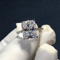 Vintage Radiant Cut 3ct Lab Diamond Ring 925 sterling silver Bijou Engagement Wedding band Rings for Women Bridal Party Jewelry