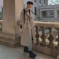 Men's Trench Coats Solid lapel trench Korean male belt loose long jackets thin double breasted hot jacket boy VP22