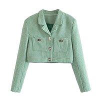 Frauenanzüge Blazer Yenkye Mode Frauen Vintage Grüne Hahnentrittgeschnittene Blazer Mujer gekerbte Kragen Langarm Anzug Jacke Damen CH