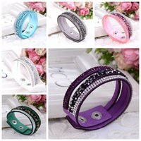 Charm Bracelet For Women Fashion Wrap Bracelets Slake Leather With Crystals Factory Discount Prices