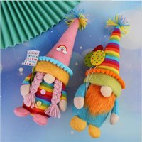 Colorful Rainbow dwarf Stuffed Animals Faceless elf doll Cute pointed hat Plush Toys Decoration Cartoon Home decor items Gifts 2599 Y2