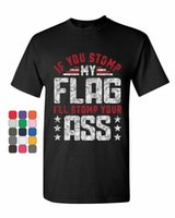 T-shirt dos homens Se você pisar minha bandeira T-shirt Defenda Patriota Americano EUA Mens Verão Algodão O-pescoço Tshirt