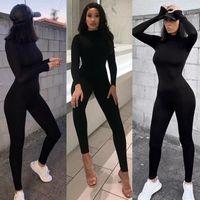 Tampette da donna Pagliaccetto 2021 Donne di primavera Tuta Sexy Streetwear Streetwear Manica Lunga Bodycon Solid Sport Fitness Pagliaccetto Pagliaccetti per il corpo