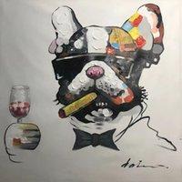 장식 된 추상 그림 아트 페인트 캔버스 손으로 칠한 벽 장식에 대 한 동물 유화 Painted fwb11102