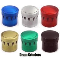 Moedores Drum Tobacco Moedor 4 Peças 43mm Diâmetro Moedor Seco Herb Spice Criter Zinc linders 6 cor