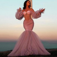 Aso Ebi Sexy Mermaid Evening Dresses Long Sleeve Crystals Beaded Dusty Pink Pageant Prom Dress For Women Girls Arabic Dubai Illusion Party Night Gowns Off Shoulder