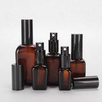 15 25 35 50 50 100ml Quadrado recarregável vazio em forma de vidro âmbar Bomba de loção de loção portátil Cosmetic Cream Creme Disponível Dispenser SN2511