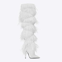 Winter High-heeled Over-the-knee Hair Boots Womens Luxury Sandals Rubber 8cm Fashion Halloween Goddess Shoes Plus Size Sexy Retro Red Bottoms Espadrilles Indoor