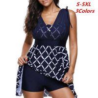 Swimwear Plaid Print Plus Size Women Tankini Mesh Swimwear for Big Girl Two Pieces Swimsuit with Shorts Push Up Swim Wear High Waist