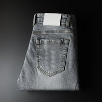 Agujeros Pantalones para hombre Jeans Moda Rompeado Lavado Graffiti Imprimir Biker Casual Zipper Mosca Mosos Ropa --QH9040