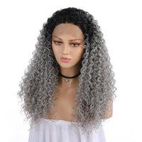 Perucas sintéticas Kinky Curly 13 * 4 Renda Frente Ombre Ombre Cinza Cinza 24 polegadas Fibra Resistente ao Calor Vestuário Daily Wig com cabelo do bebê
