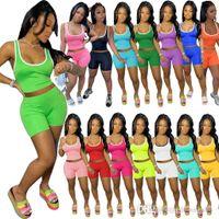 Sommer Frauen Shorts Set 2 Zweiteilige Hosen Massive Farbe Trainingsanzüge Weste Yoga ooutfits Anzug Slim Hemd Sleeveless Sportswear 836-1