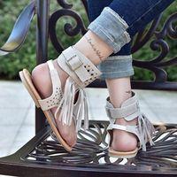 Slipper Summer 2021 European And American Tassled Peep Toe Crystal Flip-flops Flat Sandals Women Wish Large Size