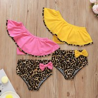 One-Pieces 2021 Swimwear Toddler Baby Kids Girls Ruffles Leopard Print Bow Beach Two-piece Set Off Shoulder Bathing Suit