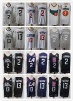 "Mens Los Angeles ""Clippers"" Rembeback Джерси Павел 13 Джордж ""Kawhi 2 Леонард"" Баскетбольные шорты Баскетбол Джерси Черный Флот"