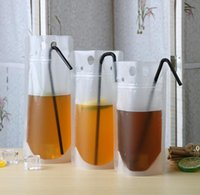 Transparent Drink Pouches Clear Beverage Bag Frosted Self Sealed Milk Coffee Juice Drinking Plastic Bags Portable FWB9683