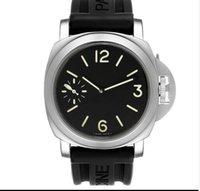 새로운 도착 남성 시계 자동 무브먼트 스테인레스 스틸 시계 블랙 다이얼 남자 손목 시계 가죽 스트랩 PA01