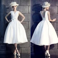 Party Dresses Robe De Spriee Ball Gown V-neck Backless Satin Tea Length Prom 2021 Elegant Formal Evening Gowns Vestido Festa