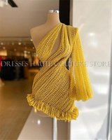 Party Dresses Gorgeous Beaded Pearls Short Yellow Gold Prom One Shoulder Puffy Sleeve Formal Mini Cocktail