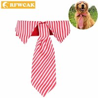 Rfwcak сплошной полиэстер ошейник собаки с модным галстуком безопасности эластичные маленькие большие собаки кошачья полоса вырезанные аксессуары для домашних животных