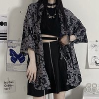 Women's Blouses & Shirts Huzhou gothic black shirt, summer shirt harajuku, short sleeve jacket hippie anime, Korean fashions, women's blouses 1MD5