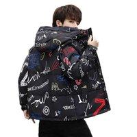 Korean Men Duck Down Jacket Coat Streetwear Graffiti Jackets Parka with Hood Harajuku Women Oversize Winter Outwear