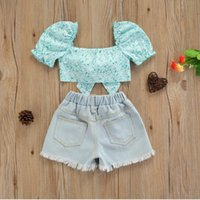 Girls Clothes Sets Kids Floral Print Puff Sleeve Knotted Tops Rough Selvedge Ripped Denim Shorts 2pcs Outfit