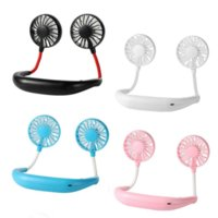 Portable USB Rechargeable Fan Hands-free Lazy Neck Hanging Dual Cooling Mini Fan Sport 360 Degree Rotating Hanging Fan