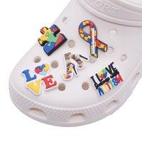 Autismo Conciencia Puzzle Croc Charms para decoraciones de zapatos Accesorios PVC Clog Wirtstband Pulseras Charm Botones Regalo para niños Niños Niñas Adultos Mujeres Mujeres