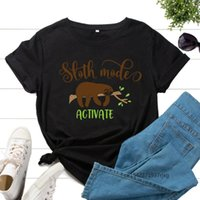 Women's T-Shirt Graphic Tee For Women Print T Shirts Short Sleeve Crew Neck Summer Tops Female Clothes Activate Sloth Mode Cute Animal