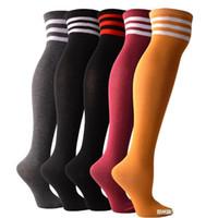 6 pares Mujeres Medias de compresión Deporte Calcetines de fútbol antideslizante Elasticidad de ciclismo exterior corriendo calcetines largos sobre la rodilla 15 W2
