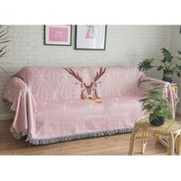 2021 New Pink Grey Nordic Deer Head Throw Blanket Knitted Chair Sofa Couch Carpet Travel Cover Tapestry Beach Blankets Tassel Lp08