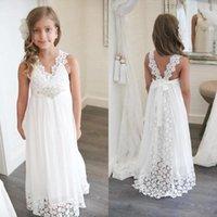 Girl's Dresses Boho Flower Girl Dress For Wedding Beach V Neck A Line Lace And Chiffon Kids White Gowns Custom Made
