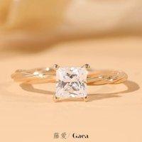 Hochzeitsringe Einfache 1-carat Mosambik Stein Retro Quadrat Vierklaue Ring, Rattan Liebe Gold Diamant Ring Mädchen