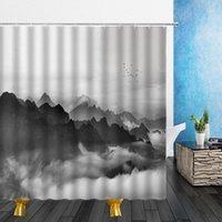 Cortinas de ducha de paisaje natural Invierno Montaña Agua Moza de niebla 3D Cuarto de baño Decoración para el hogar A prueba de agua Poliéster Paño Cortina