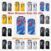 مخصص الرجال النساء كيد جيرسي 12 جو هاريس جديدبروكلينNets 8 Deandre JD City Blue Gray Black White كرة السلة الفانيلة