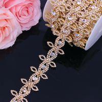 Gold Strass Trimmen Gürtel Für Frauen Kristall Strass Kette Bridal Sash Strass Trim Eisen auf Applikation für Kleider