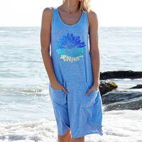 Woman Short Sleeve Dresses 2021 Summer Fashion Sleeveless Tanks Vest Solid Dress Women'S Clothing Comfortable Homewear