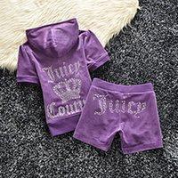 Women's Tracksuits YICIYA Summer Letter Printing Velvet Zip Tracksuit Juicy 2Piece Set Women Clothing 2021 Short Sleeved Crop Top+short Pant