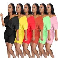 Женщины Двухструктурные набор набор спортивной площадки Летняя одежда V-образным вырезом с коротким рукавом на молнии на молнии высокая талия байкерские шорты наряда лаундж набор 2021