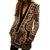 Women V- Neck Geometric Sequined Embroidery Suits Coat Shiny ...