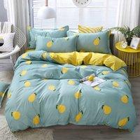 4pcs Biancheria da letto in cotone Set Super King Cover Duvet Set Fashion Lenzuolo Lenzuolo Grigio Poliestere Cover Duvet King Size Set di biancheria da letto di lusso 97 V2