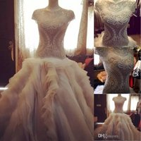 Luxury Wedding Dresses A Line Jewel Capped Short Sleeves Pearls Beading Crystal Bodice Covered Buttons Tiered Chapel Train Bridal Gowns