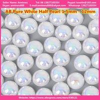 1440pcs 1,5 mm 3mm AB Pure Blanc Nail moitié perle pour décoration rond fond plat strass de strass charme manucure ongles accessoires