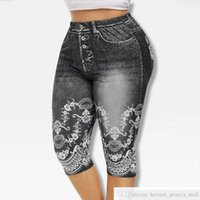 Printed False Denim Yoga Pant 3\\4 Women Jeans Leggings High Waist Breeches Pants Super Elastic Jeggings Plus Size 5XLsoccer jersey