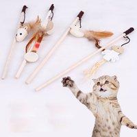 Toys Cat Interactive с Bells Funny Wood Stict Chinkly Mouse Ball с пером домашних животных играет игрушки