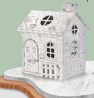 아이 손으로 그린 낙서 어셈블리 하우스 DIY 3D 빌라 종이 조립 된 집 교육 양방향 그림 퍼즐 장난감 선물