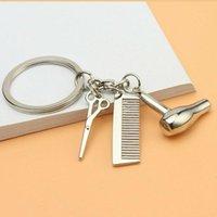 Keychains Hairdresser Hair Dryer Scissor Comb Car Keychain Creative Key Ring Jewelry Gift High Quality
